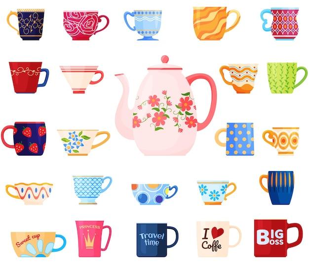 さまざまなマグカップのセット。カップのさまざまな形やパターン。お茶会。バックグラウンド。