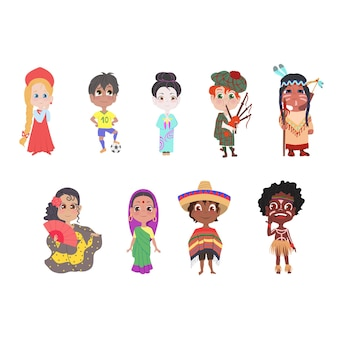 Набор детей разных национальных стран в красочной современной одежде