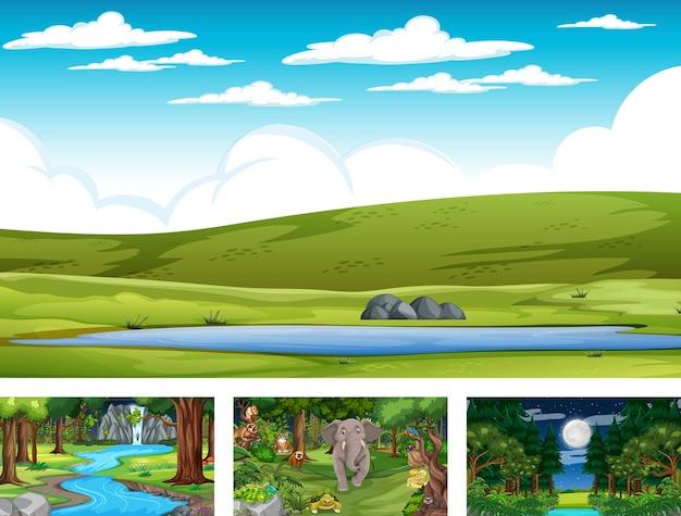 다양한 야생 동물과 다른 자연 수평 장면 세트