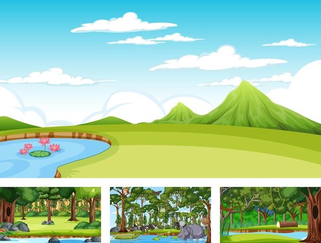 Набор различной природы горизонтальной сцены с различными дикими животными