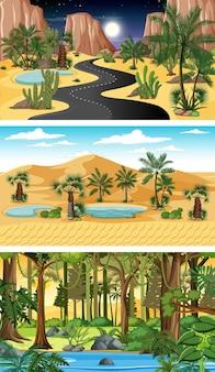 다른 자연 수평 장면 세트