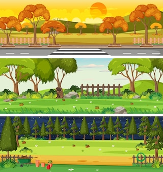 Набор горизонтальных сцен различной природы