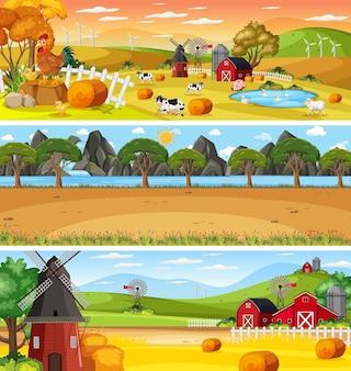 만화 캐릭터와 함께 낮 장면에서 다른 자연 풍경의 집합