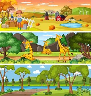 漫画のキャラクターと昼間のシーンで異なる自然の風景のセット