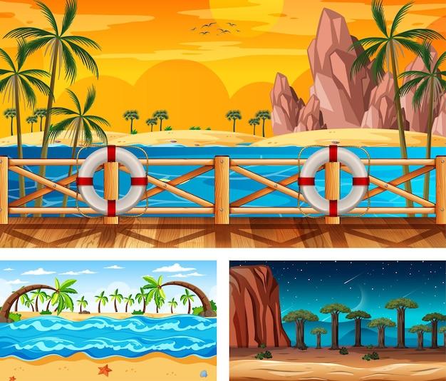 さまざまな自然の風景のシーンのセット