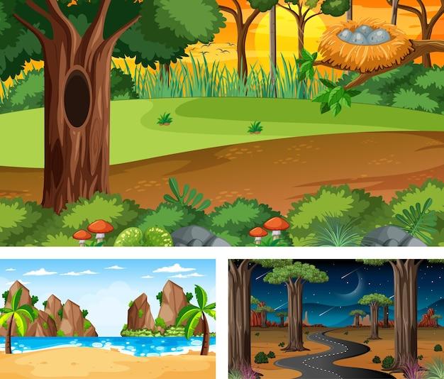 Набор различных пейзажных сцен природы