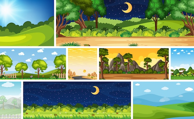 Набор различных сцен природы в вертикальных и горизонтальных сценах днем и ночью