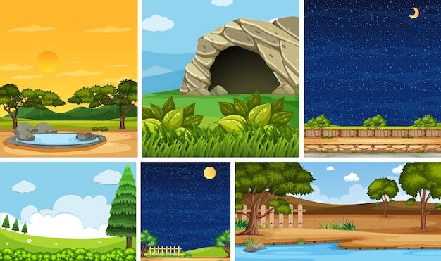 낮과 밤에 수직 및 수평선 장면에서 다른 자연 장소 장면 세트