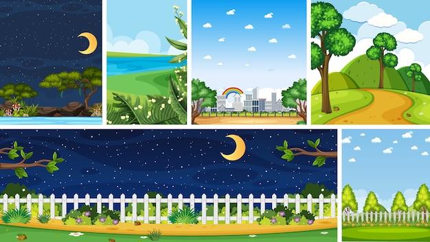 昼と夜の垂直と地平線のシーンで異なる自然の場所のシーンのセット