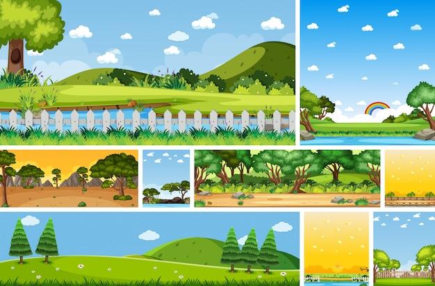 昼間の垂直と地平線シーンの異なる自然場所シーンのセット