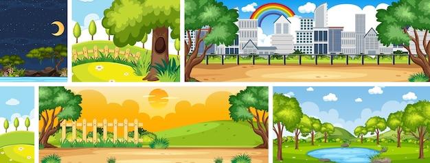 Набор различных сцен природы по вертикали