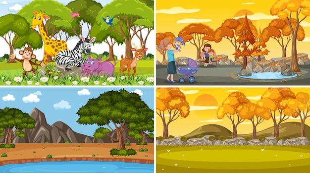 만화 스타일의 다른 자연 장면 배경 세트
