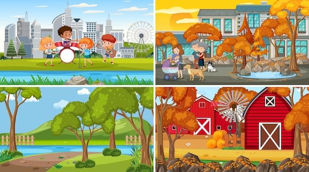 Набор различных фоновых сцен природы в мультяшном стиле