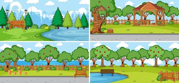 다른 자연 장면 만화 스타일 세트