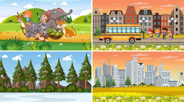 다른 자연 장면 만화 스타일의 집합