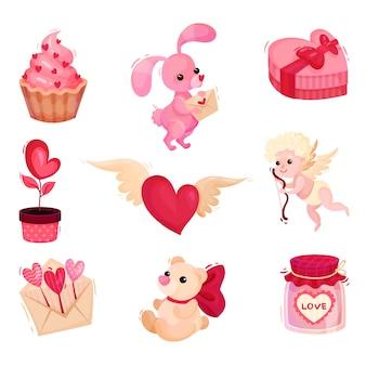Набор различных объектов, связанных с темой дня святого валентина. праздничные подарки. элементы для поздравительных открыток