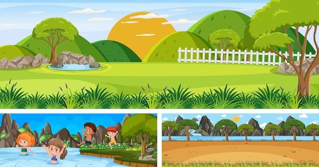 漫画のキャラクターとさまざまな屋外の風景シーンのセット