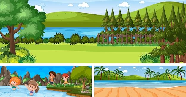 漫画のキャラクターとさまざまな屋外パノラマ風景シーンのセット