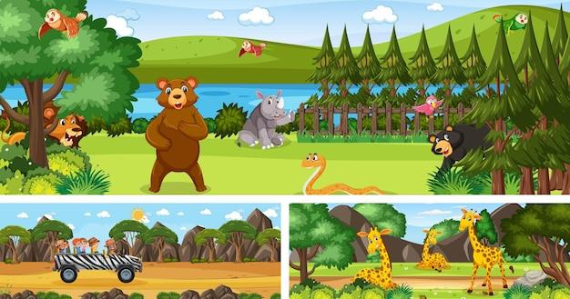 만화 캐릭터가 있는 다양한 야외 파노라마 풍경 장면 세트