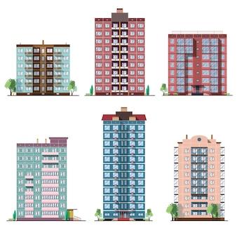 다른 패널 주거 주택의 집합입니다. 다채로운 벡터 평면 그림의 컬렉션입니다.