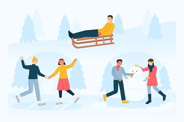 屋外の冬の活動をしているさまざまな人々のセット