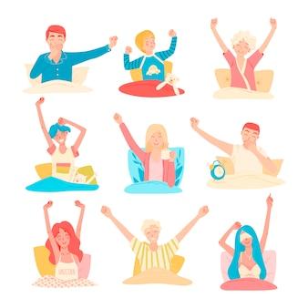 Множество разных людей просыпаются утром в своей постели, счастливые лица. начало хорошего дня, пробуждение после сна, утренние ритуалы перед началом рабочего дня, учеба, домашние дела.