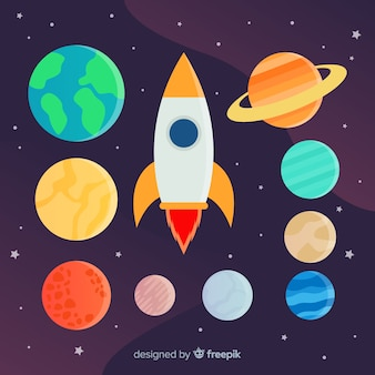 Набор разных планет и ракетных стикеров