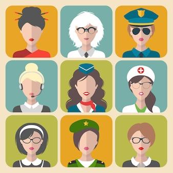 플랫 스타일의 다른 직업 여성 응용 프로그램 아이콘의 집합입니다.