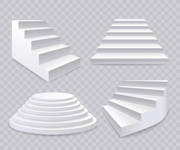 Набор различных реалистичных d белые лестницы, лестницы и лестницы на прозрачном фоне