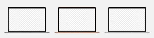 투명 한 배경에 빈 화면이 다른 현실적인 노트북 세트