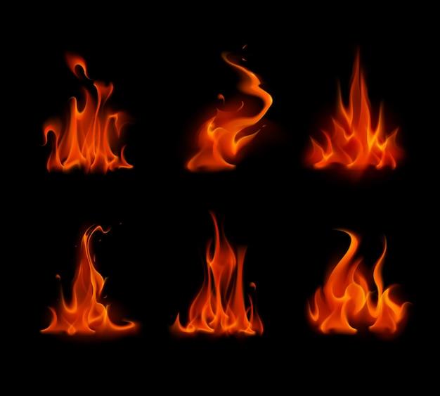 Набор различных красный алый огонь пламя костра, изолированных на фоне
