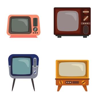 さまざまなレトロなテレビのセット。漫画風の古いテレビ。