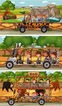 動物と子供の漫画のキャラクターとさまざまなサファリ水平シーンのセット