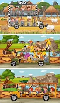 Набор различных горизонтальных сцен сафари с животными и детьми мультипликационного персонажа