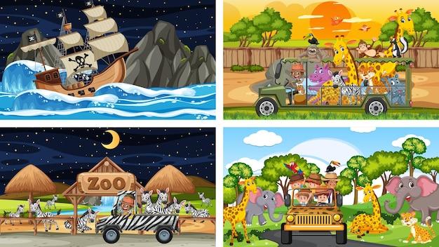 Набор различных сцен с животными в зоопарке и пиратским кораблем в море