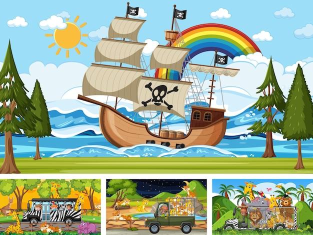 Набор различных сцен с пиратским кораблем в море и животными в зоопарке
