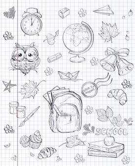 Набор различных школьных предметов рюкзак, краски, глобус и осенние листья. черный контур