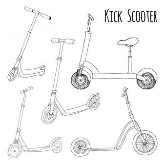 Набор разных скутеров.