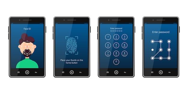 スマートフォンの異なる画面ロックのセット