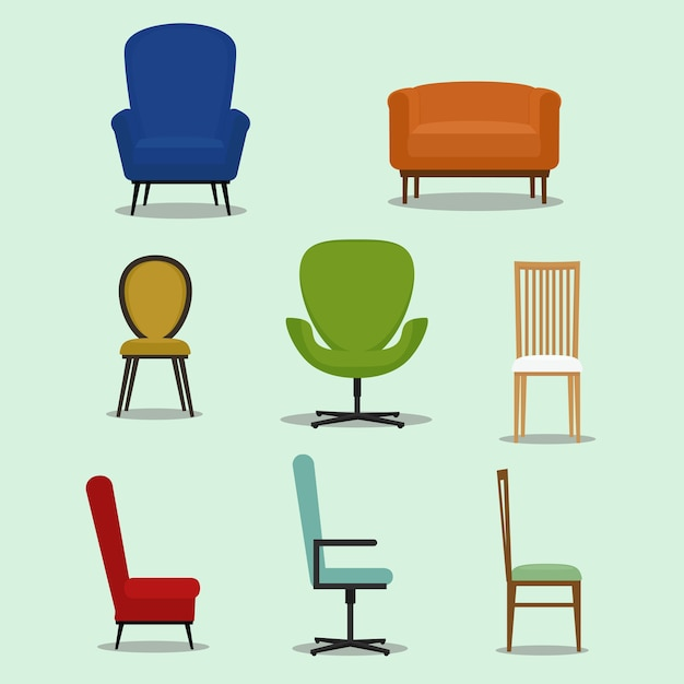 Set Of Different Shapes And Styles Of Chairs. Furniture Design Vector  Illustration