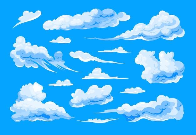 Набор перистых и кучевых облаков различной формы