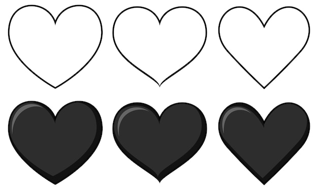 Набор различных форм сердца