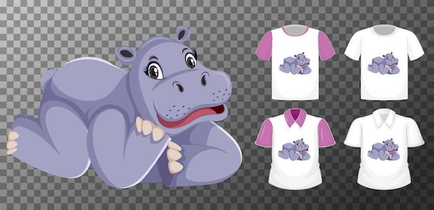 透明な背景に分離されたカバの漫画のキャラクターと異なるシャツのセット
