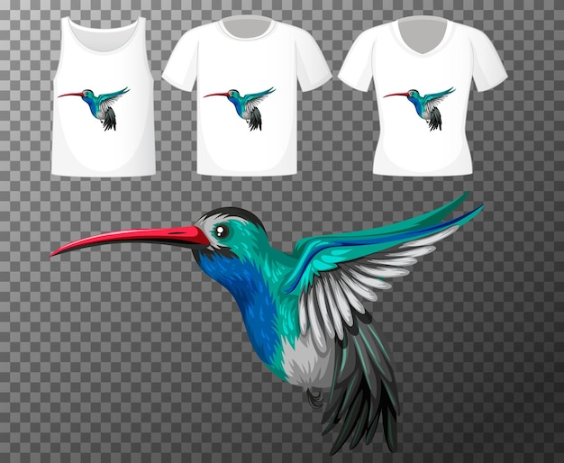 透明な背景に分離された小鳥の漫画のキャラクターとさまざまなシャツのセット