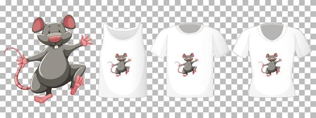 透明な背景に分離されたマウスの漫画のキャラクターと異なるシャツのセット