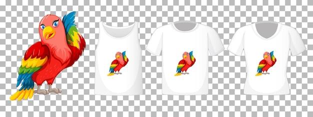 투명 한 배경에 고립 된 앵무새 새 만화 캐릭터와 다른 셔츠 세트