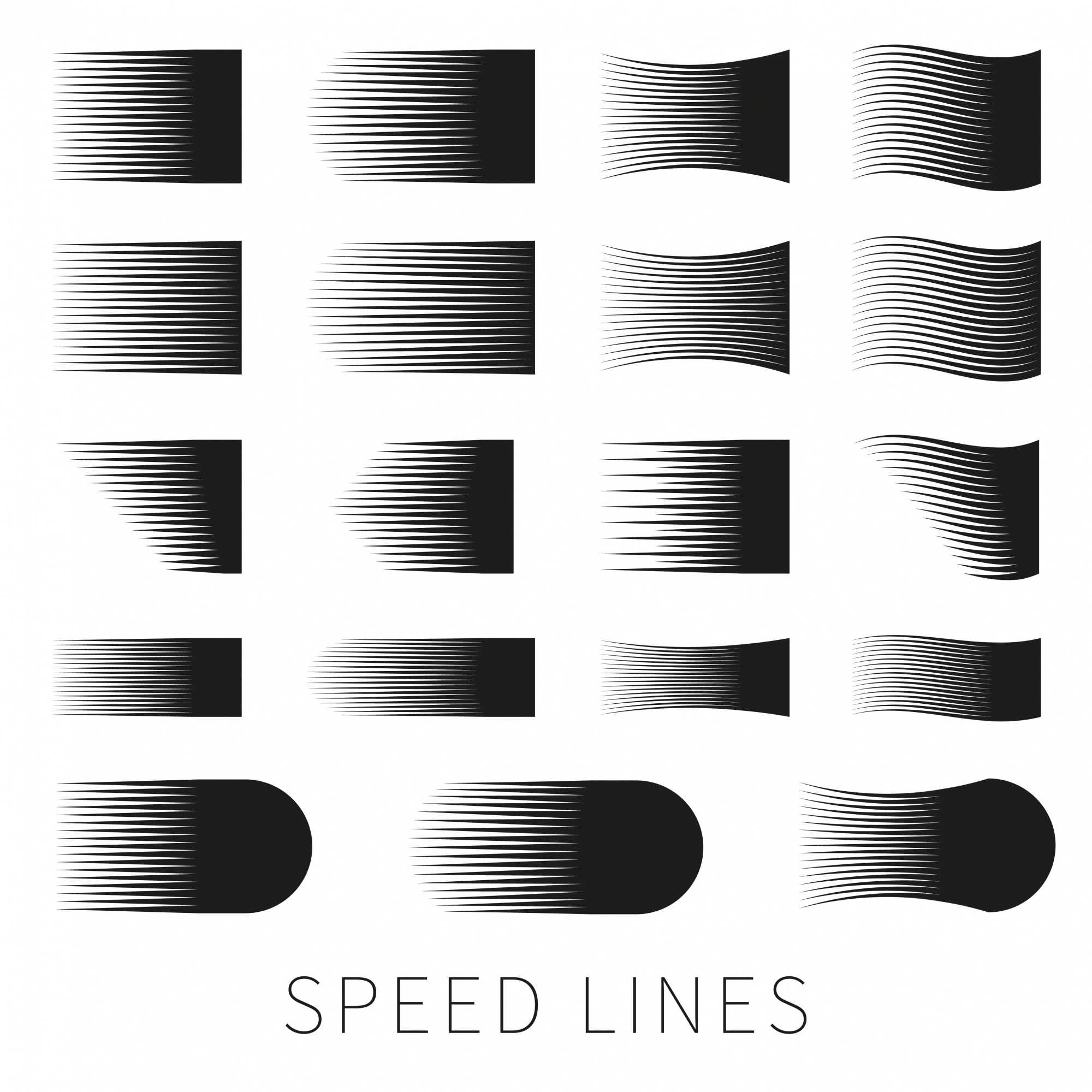 Set of different simple black vector speed line