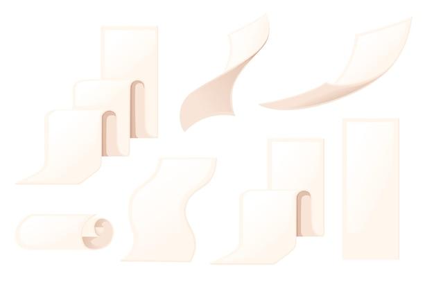 흰색 배경에 고립 된 다른 크기의 빈 영수증 청구서 논문 아이콘 평면 벡터 일러스트 레이 션의 집합입니다.