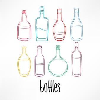 Набор различных эскиза красочные бутылки с напитками. час