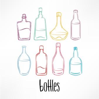 飲み物と異なるスケッチカラフルなボトルのセット。手描きイラスト